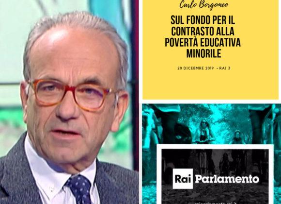 Carlo Borgomeo ospite a RAI 3 sul contrasto alla povertà educativa