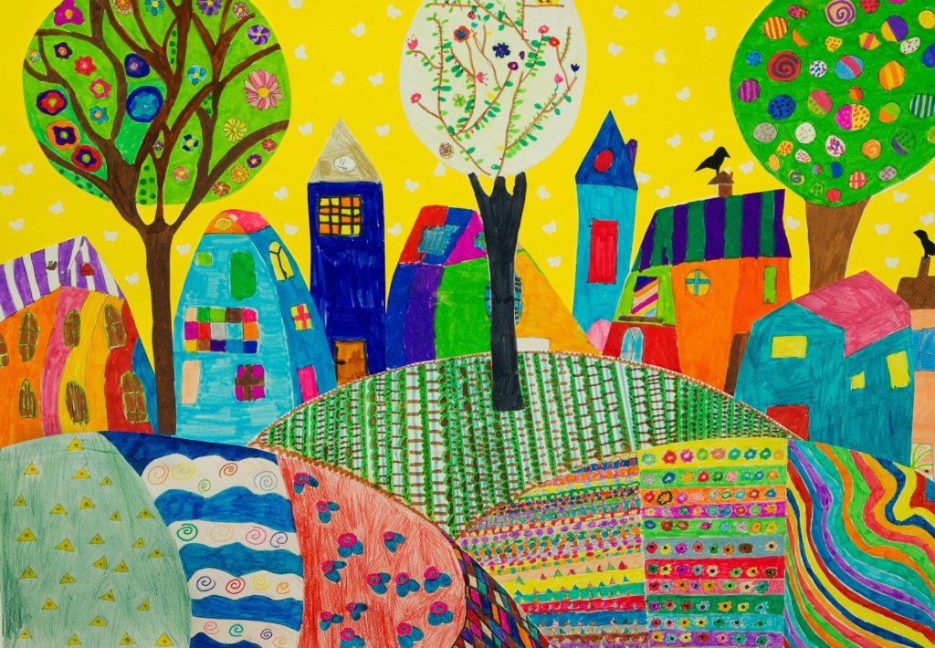 disegno di un villaggio