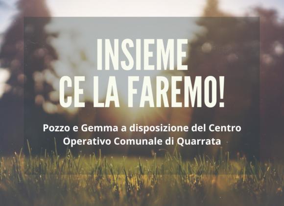Pozzo e Gemma a disposizione del Centro Operativo Comunale per l'emergenza COVID-19