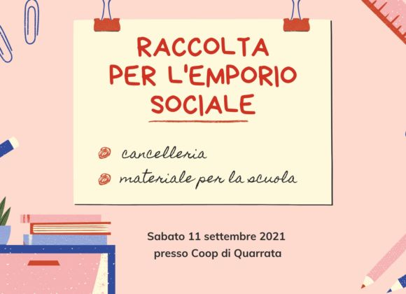 Raccolta di cancelleria e materiale scolastico per l'Emporio Sociale